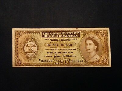 - Rare 1970 British Honduras  $20  Dollars  Elizabeth II   P 32c - Sale Priced