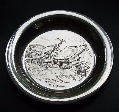 "A.y.jackson St.urbain Engraved 8"" Sterling Silver Plate Welling Mint Canada 1971"