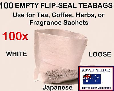 100 WHITE Empty FLIP-SEAL Tea Bags * Herb * Garni * Infuser * Spices Teabags Top