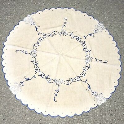 Antique Vintage Arts & Crafts Blue Flowers Hand Embroidered Linen Table Round