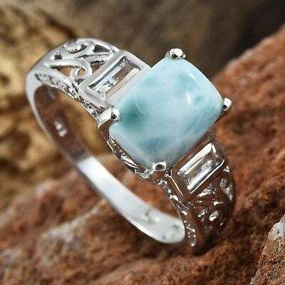 Larimar, White Topaz Platinum Over Sterling Silver Ring (Size 11.0) TGW 4.10 cts