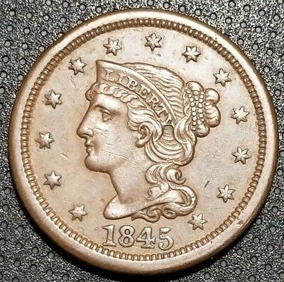 1845 Braided Hair Large Cent N-2 Very Nice Coin For Your Collection