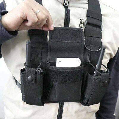 3 Pocket Chest Pack Bag Harness for Motorola Baofeng KENWOOD Walkie Talkie Radio