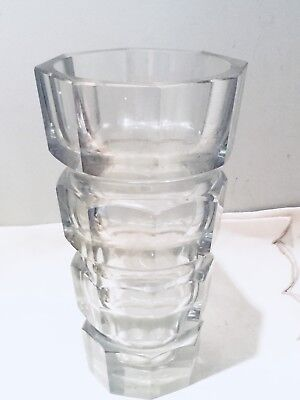 Moser Mid Century Modern Blown Panel Cut Crystal Vase Designed By