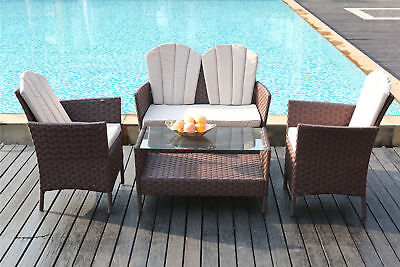 ^4-Piece Outdoor Rattan Furniture Conservatory Sofa Set Table and Chairs Brown