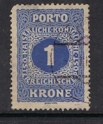 Austria 1916 Postage Due  1 krone blue SG D281  Used