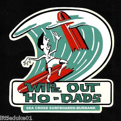 """WIPE OUT"" SEA CROSS SURFBOARDS CALIFORNIA USA Sticker Decal CAR WOODY SURFING"