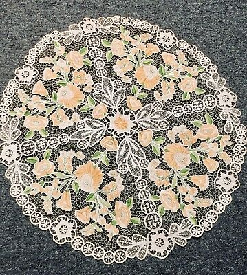 Antique SOCIETY SILK Arts Craft Embroidery Flowers LG Table Round Linen Lace