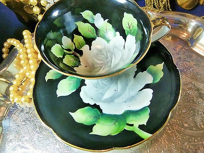 LEFTON TEA CUP AND SAUCER DRAMATIC WHITE ROSE ON BLACK OCCUPIED JAPAN c1945