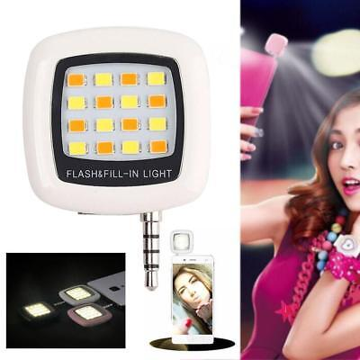 Selfie Fill Flash Light 16 LED Camera Smart 3.5mm For Android iPhone White AE