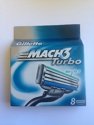 GILLETTE MACH 3 M TURBO SHAVING BLADES RAZORS CARTRIDGES x 8