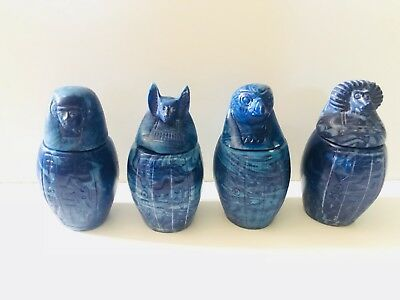 Blue Ancient Egyptian 4 Canopic Jars With Detailed Carved Designs