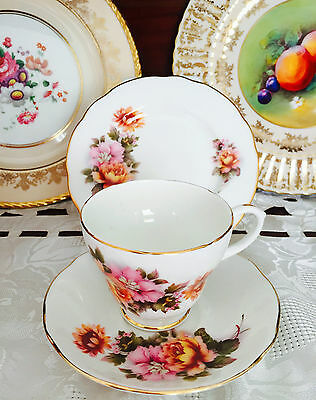 Vintage Duchess Made In England Bone China Floral Trio C1960's