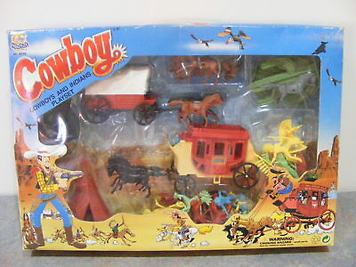 Vintage Cowboys & Indians Play Set - Complete & Boxed