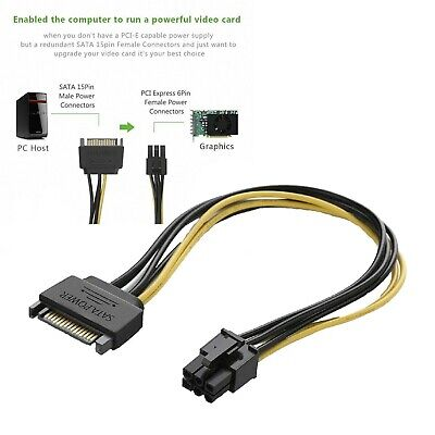 US 15pin SATA Power to 6pin PCIe PCI-e PCI Express Adapter Cable for Video Card