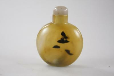 ANTIQUE CHINESE CARVED AGATE MOSS SNUFF BOTTLE with JADE STOPPER LID
