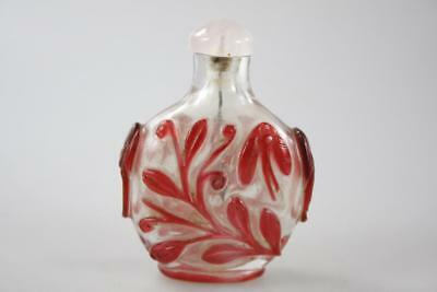 Antique Chinese Peking Glass Hand Carved Snuff Bottle Rose Quartz Stopper