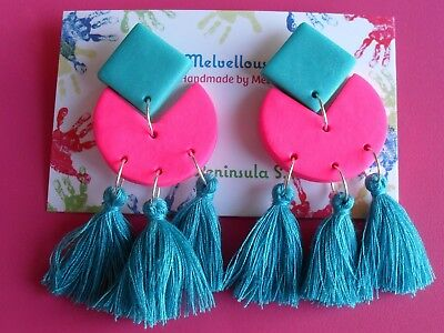 hot pink and teal tassel dangle earrings Melvellous polymer clay