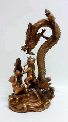 Republic Period 民国时期 Chinese Bronze Figural group of Dragon with Children