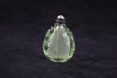 Antique Chinese Hand Carved Peking Glass Snuff Bottle Silver Pearl Stopper