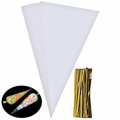 LARGE CLEAR CELLOPHANE CONE BAGS TWIST TIES party candy sweet cello