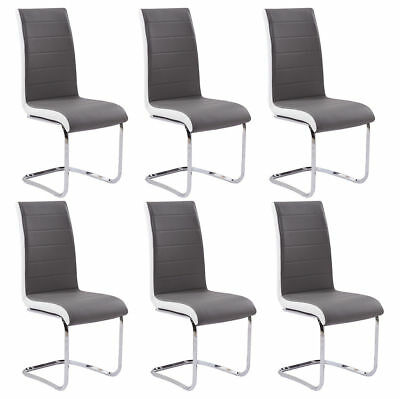 6 x Black Seat White Side Faux Leather Dining Chairs Chrome Kitchen Meeting Room