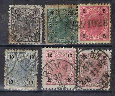 Austria 1890 selection to 15k  SG 79, 81-85   Used