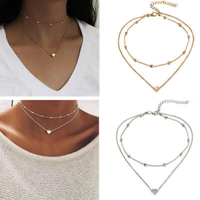 Silver Gold Plated 2 Double Layer Beaded Chain Choker Necklaces Heart Pendant UK