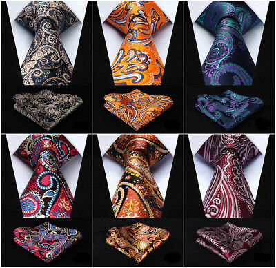 Black Blue Paisley Mens Silk Ties Necktie Handkerchief  Gold Tie Set  Wedding H1