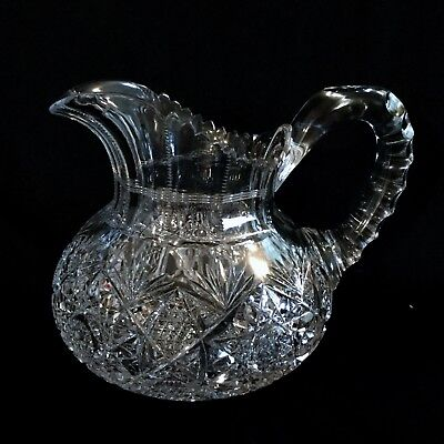 Antique American Brilliant Cut Glass Pitcher, Magnificent Quality,minor Chips