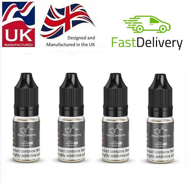 6x Nicotine Shots 10ml - 18mg/ml By NicDrops Nic Shot 70%VG Cloud Chaser Premium