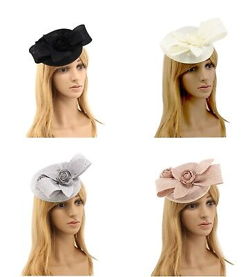Ladies Large Flower Sinamay Design Round Hat Fascinator Hair Clip Headband 0238
