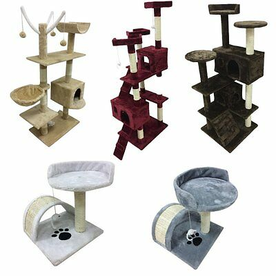 Cat Tree Scratcher Scratching Kitten Climb Post Sisal Toy Bed Activity Centre DT