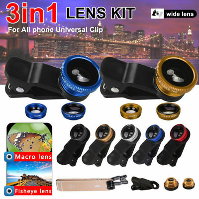Wide Angle 180° Fish Eye Macro Clip Camera Lens Kit for iPhone/Camera Phone