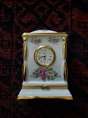 Limoges Clock, Floral Pattern with Secret Compartment