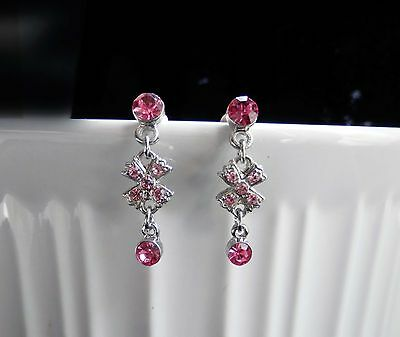 Vintage Dangle Earrings With Rose Australia Crystals Perfect Gift E1204