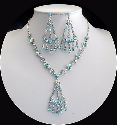 Stunning Party Necklace & Earrings with Lt Sapphire Australia Crystals N3072A