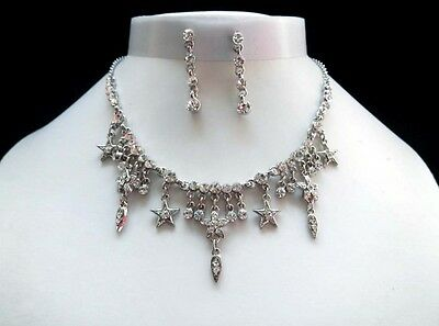 Necklace & Earrings Set, Clear Australia Crystals Wedding Jewelry N1221