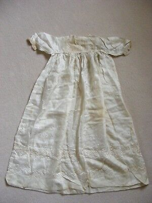 Antique silk and embroidered baby christening gown  Victorian Edwardian