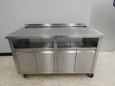 """Stainless Steel Soda/Beverage Cabinet Table, 57"""" x 30 1/2"""""""