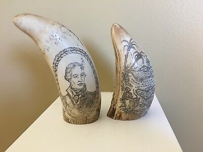 Set of 2 Scrimshaw Resin Replica Sperm Whale Teeth, 2 different designs & sizes