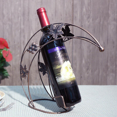 Home Bar Party Tabletop Wine Bottle Holders Moon Shape Rack Antique Metal Stand