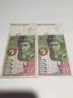 SPAIN BANK NOTE PAPER MONEY 1000 PESETAS 1992 lot of 2 notes! Euro exchangeable!