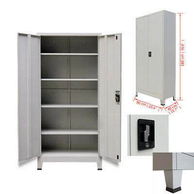 Metal Office Filing Cabinet Document Storage Cupboard Shelf Lockable 2Door Chest
