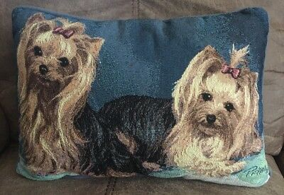 Yorkshire Terrier Tapestry Style Throw Pillow Yorkies by Linda Picken