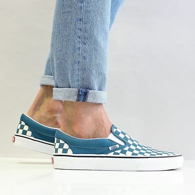 3e15ae3cfec1 Vans Men s Classic Slip On Canvas Shoes Corsair Blue True White Checkerboard