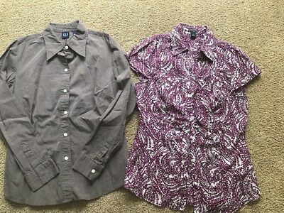 LOT OF TWO Women's Button Down Shirts. Gap And Ann Taylor Size Medium