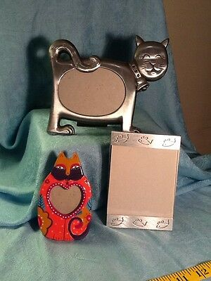 Three Vintage Cat Themed Picture Frames Metal And Ceramic 1085