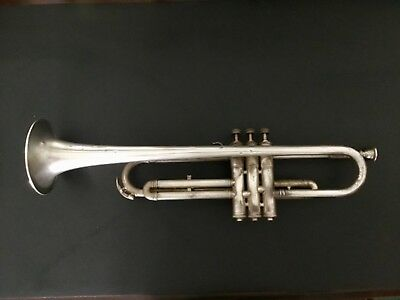 """Antique Silver Trumpet w/Case Engraved """"Art Craft Marvel"""" Mother of Pearl"""