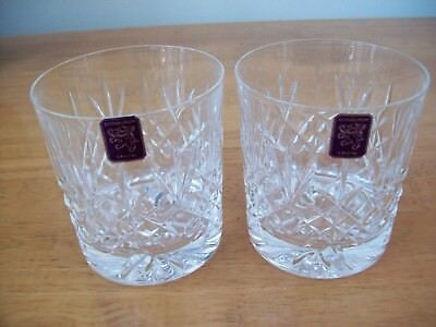 2 X  EDINBURGH CRYSTAL LOMOND WHISKY GLASSES NEW Signed  & Made in Scotland